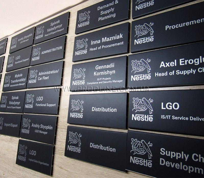 Таблички офисные на двери Nestle